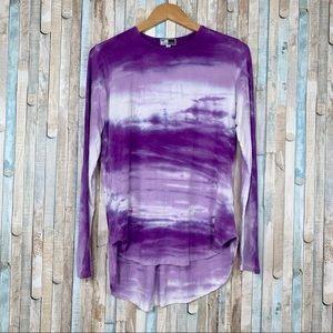 Annie Turbin 1 S Purple Tie Dye High Low Tunic Top